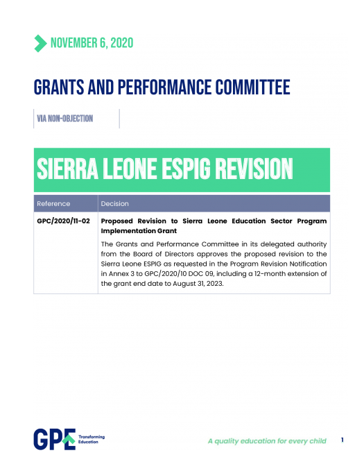 Decision on revision of allocation to Sierra Leone. November 2020