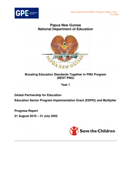 Boosting Education Standards Together in Papua New Guinea Program – Progress report