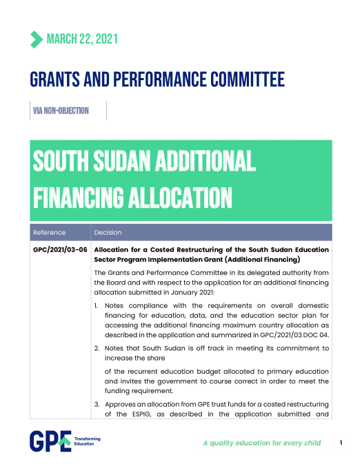 Decision on additional funding to South Sudan
