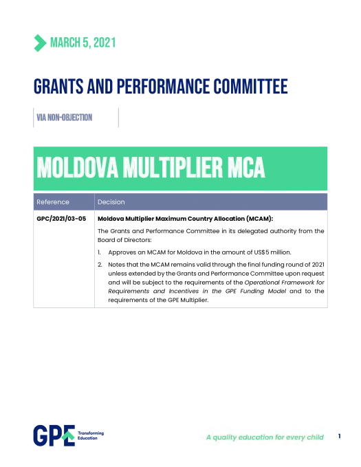 Decision on Multiplier allocation to Moldova. March 2021