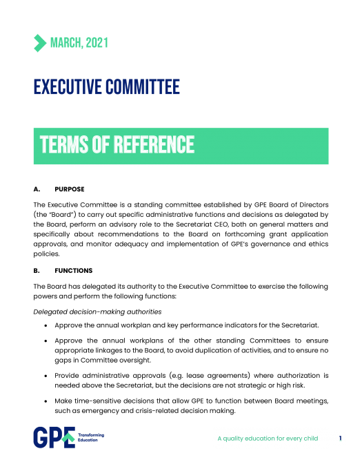 Executive committee's terms of reference