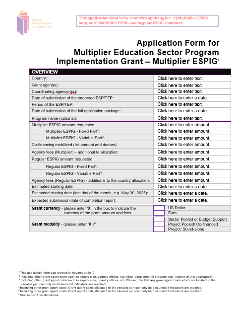 Application form for a GPE Multiplier education sector program implementation grant