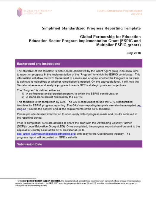 Standardized progress reporting template for ESPIG and Multiplier ESPIG