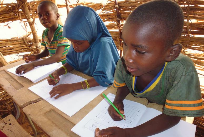 School children doing math exercises during class in Niger. Credit: JICA/Akiko Kageyama