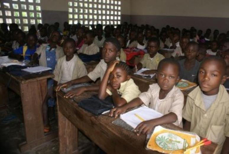 Students sitting in a classroom in Republic of Congo