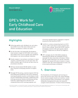 Policy brief. GPE's work for early childhood care and education