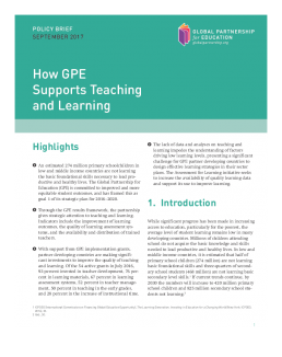 Policy brief: How GPE supports teaching and learning cover