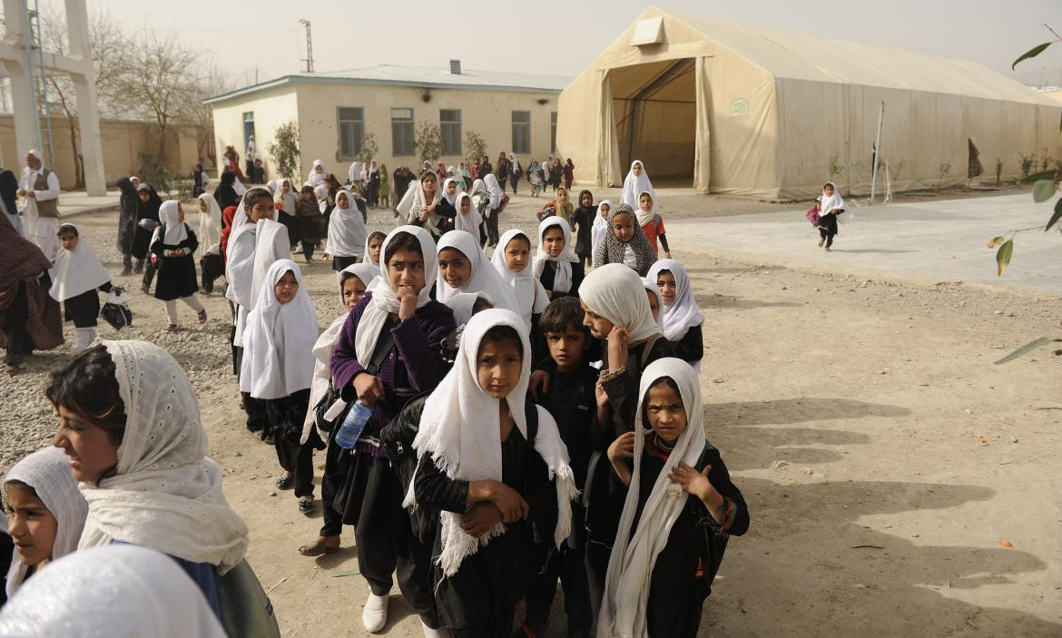 Girls at Ayno Meena Number Two school in the city of Kandahar, Afghanistan. Credit: GPE/Jawad Jalali