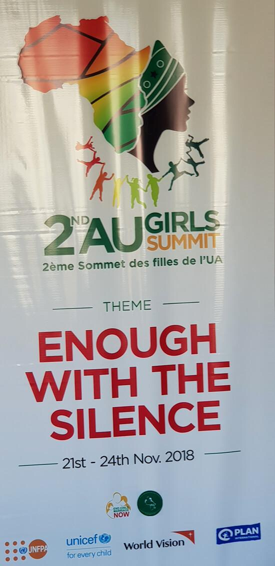 A poster with the official logo and the theme of the conference. Credit: GPE/Victoria Egbetayo