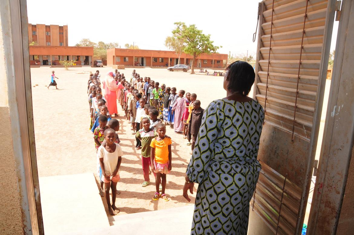 Children line up before entering their classroom. Burkina Faso. Credit: GPE/Olivier Badoh