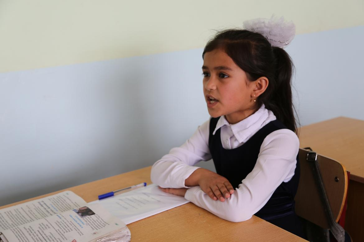 A school girl during class at the Shahrinav District, School #39. Tajikistan. Credit: GPE/Carine Durand