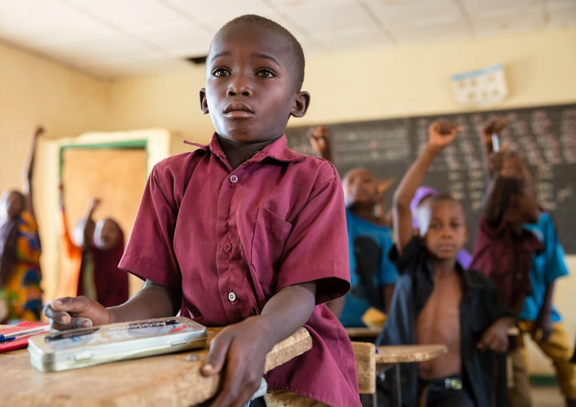 Student in class. Couronne Nord 1 Primary School, Niamey, Niger. Credit: GPE/Kelley Lynch