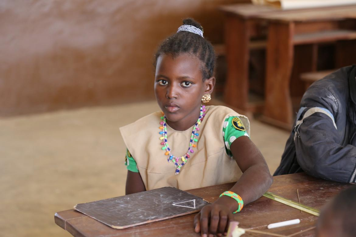 Mariam is a 5th grade student at the Akoitchaou primary school, located near Kandi in the north of Benin. The school has about 51 students from kindergarten to 5th grade. Credit: GPE/Chantal Rigaud