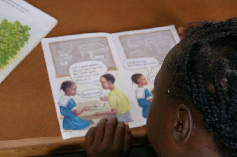 A student learns to read in a primary school in Zambia. Credit: GPE/Dan Petrescu