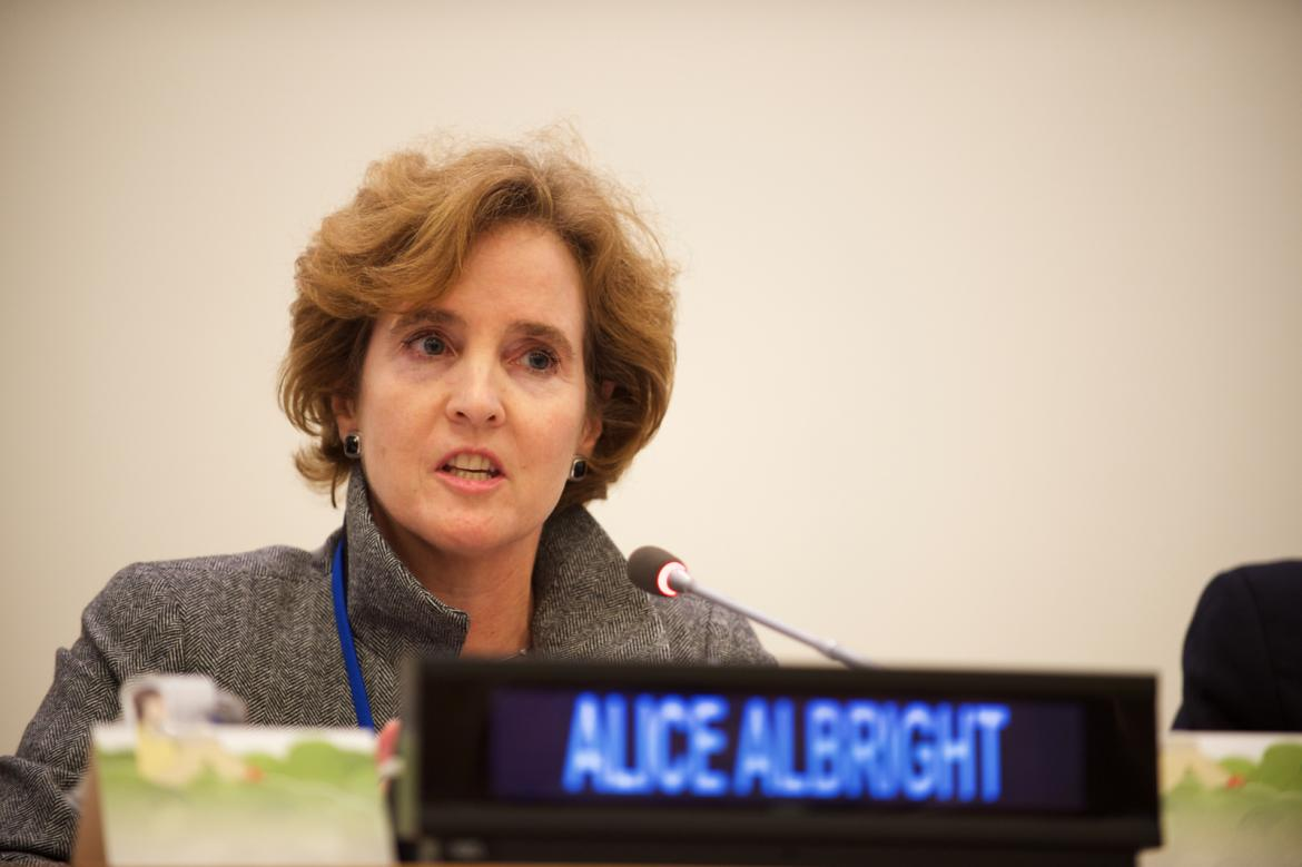 Alice Albright speaking at 71st UN General Assembly © 2016 Perry Bindelglass