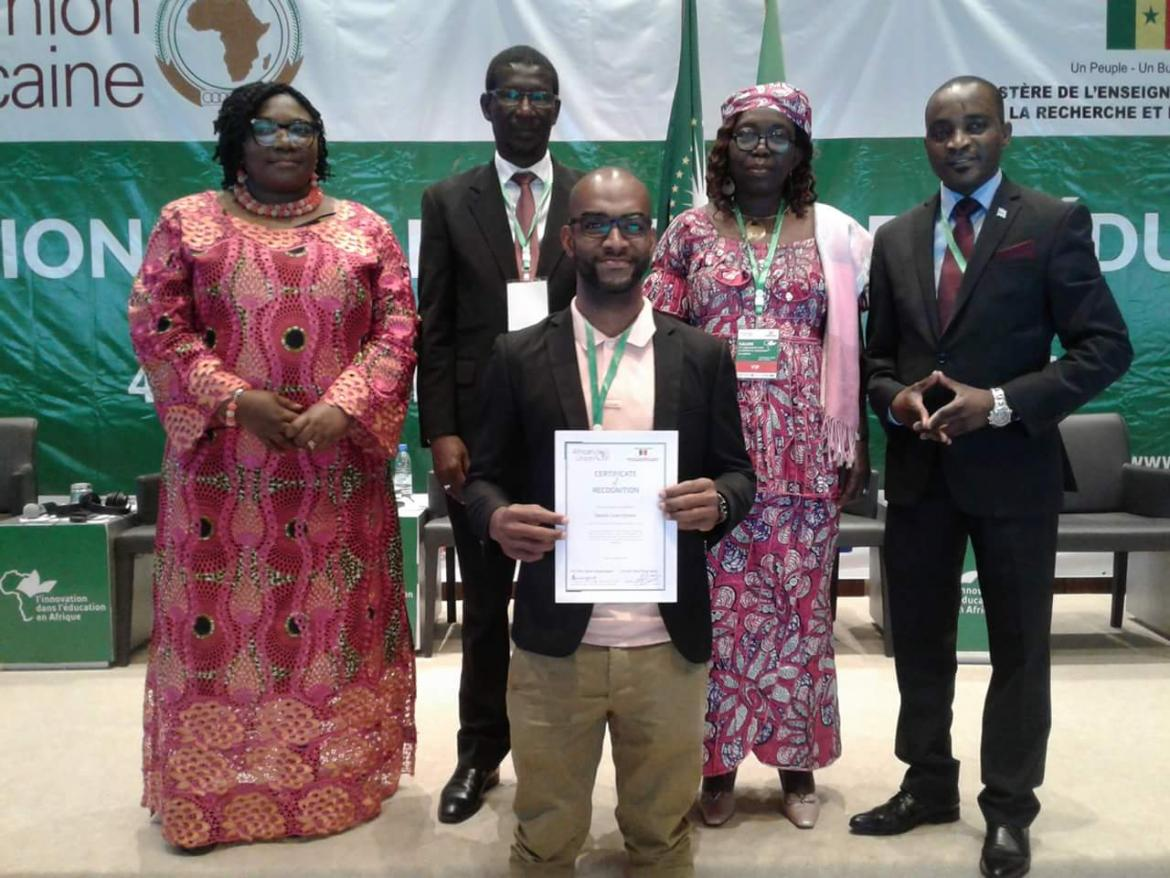 Marius Angelin Rafidisaonina received the AU Expo young innovator award in 2018. Credit: Marius Angelin Rafidisaonina
