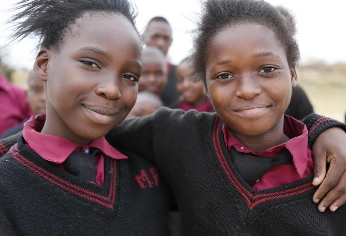 Two students in Zambia. Credit: Jessica Lea/Department for International Development