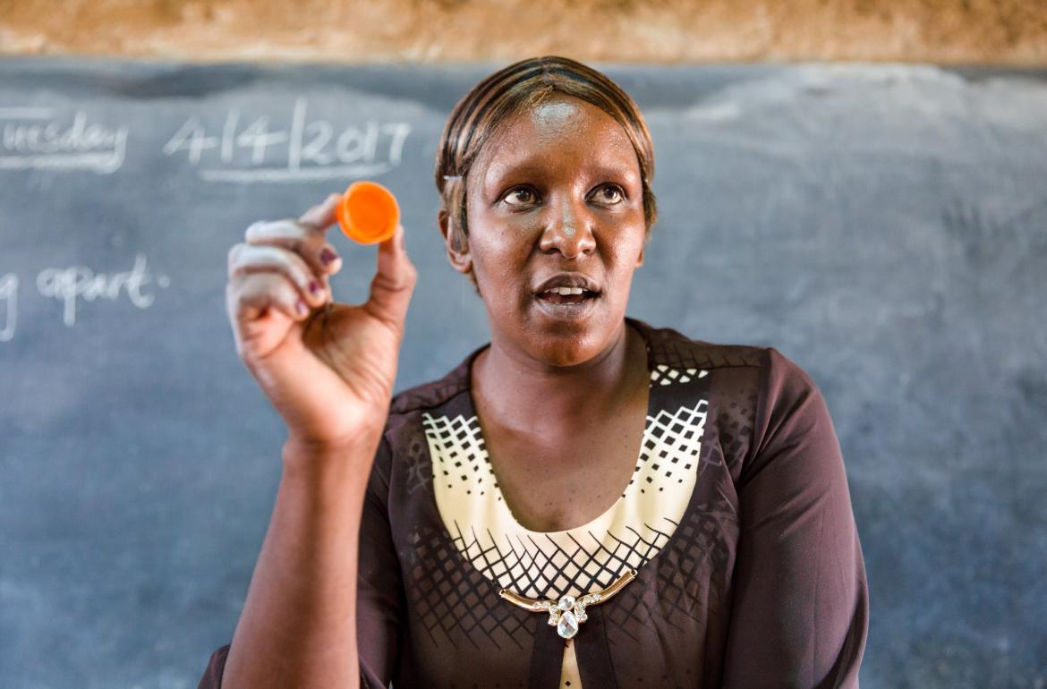 A teacher in front of her class at the Nyamachaki Primary School, Nyeri County. Kenya.