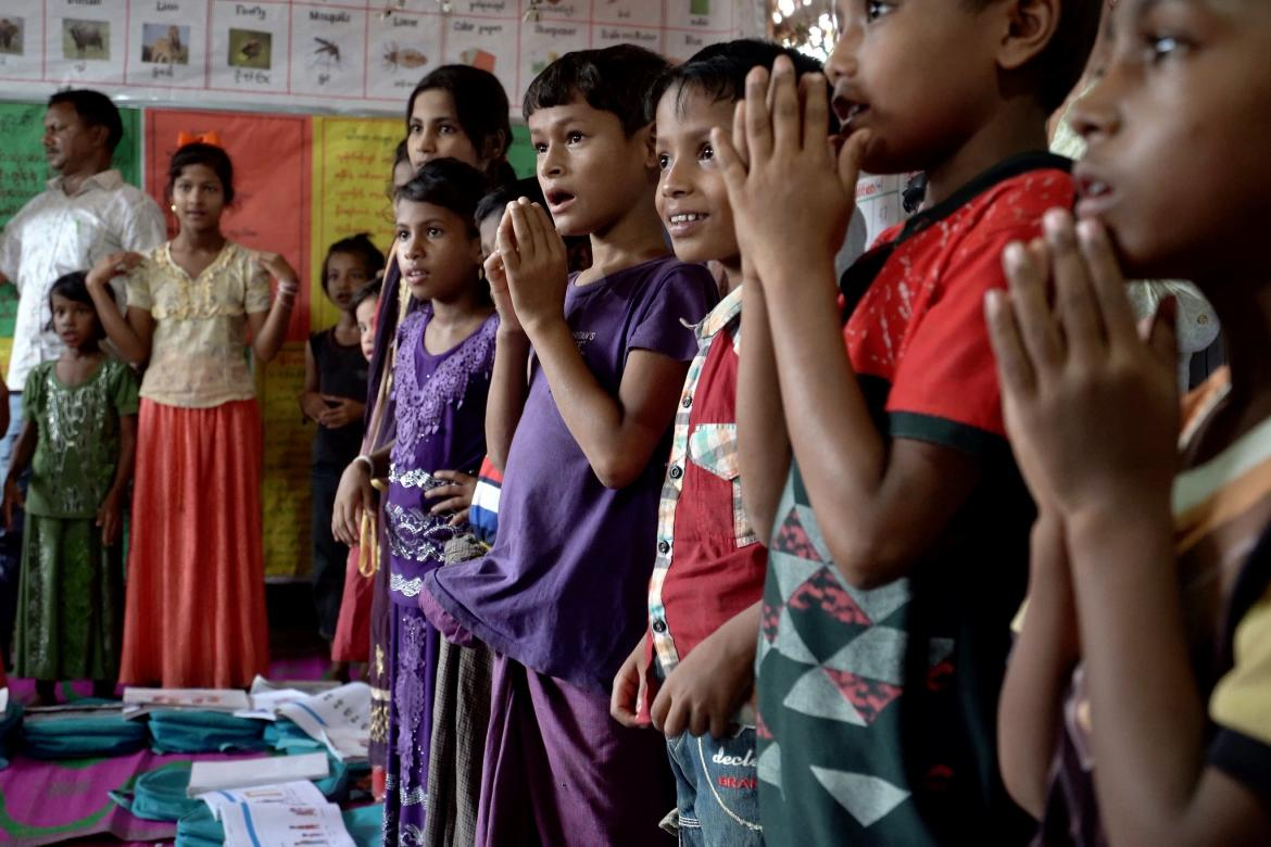 Children singing a song at the DAM learning center in Camp 4 in Cox's Bazar, Bangladesh, in early September 2019. Credit: GPE/Stephan Bachenheimer