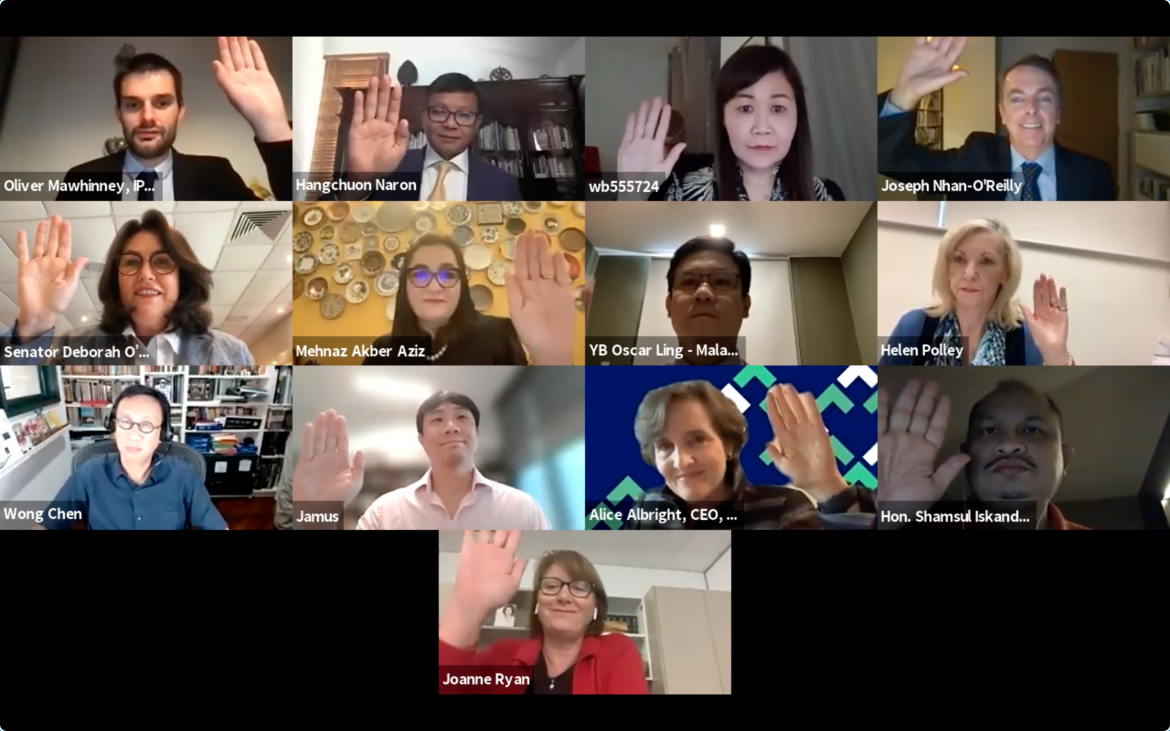 Parliamentarians from Asia-Pacific countries raising their hands to support GPE financing campaign.