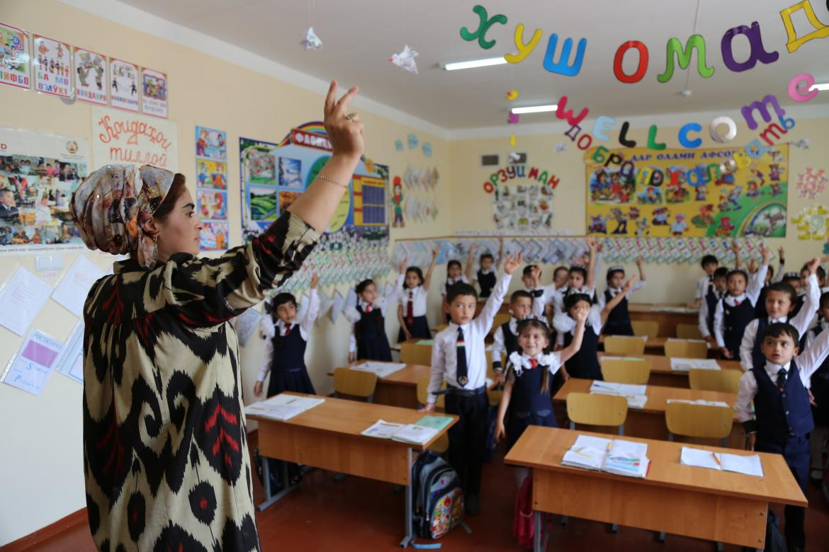 A teacher with her students in their classroom at the Ridaki District, School #181 in Tajikistan. Credit: GPE/ Carine Durand