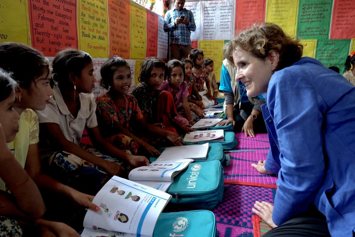 Alice Albright visits a learning center in Cox's Bazar, Bangladesh. Credit: GPE/Stephan Bachenheimer
