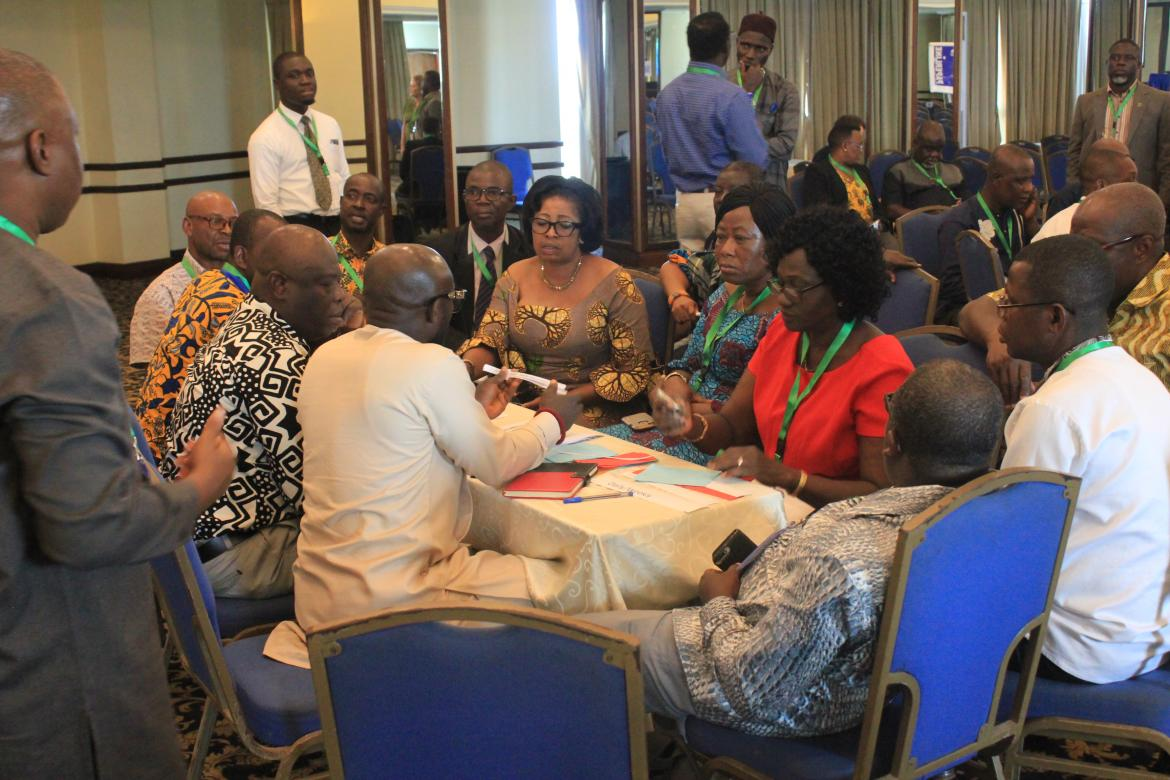 Participants debating during a group work at the Ghana 2019 National Education Week in Accra. Early August 2019.