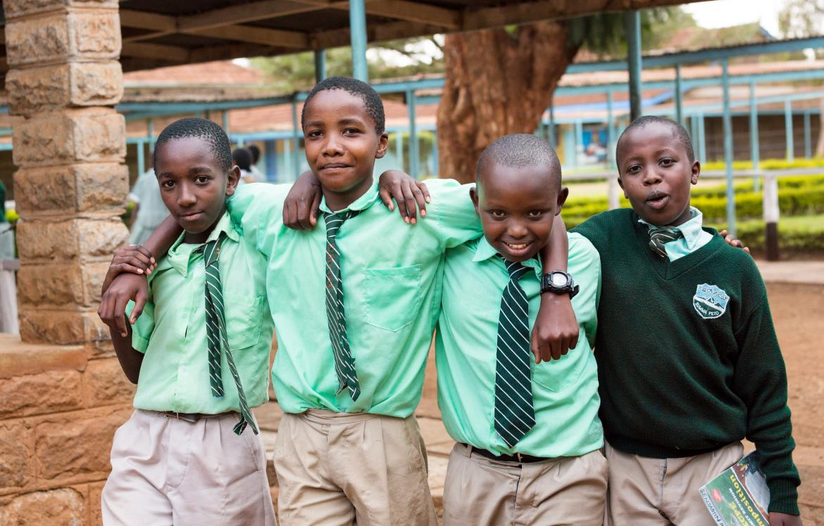 Students go home after school. Nyeri Primary School, Nyeri County, Kenya
