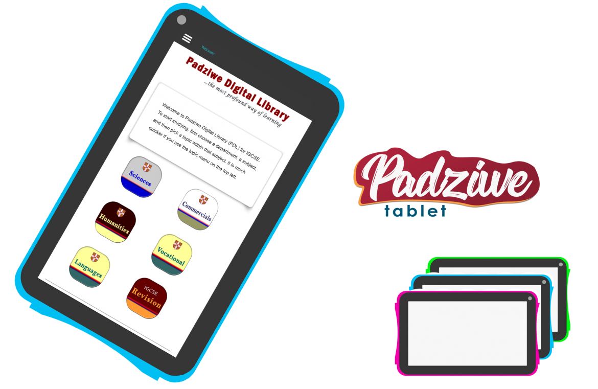 Padziwe Tablet is an educational device which contains the mobile version of Padziwe Digital Library (PDL).