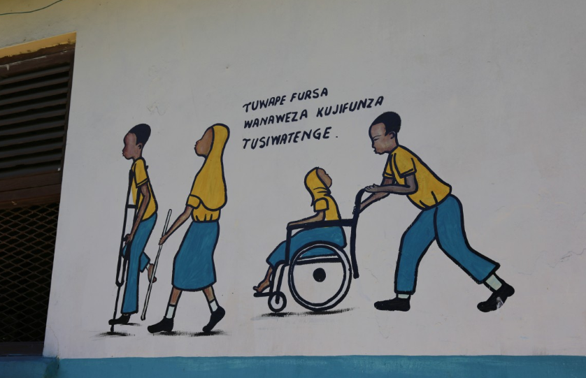 A mural depicting children with disabilities going to school. Zanzibar. Credit: GPE/Chantal Rigaud