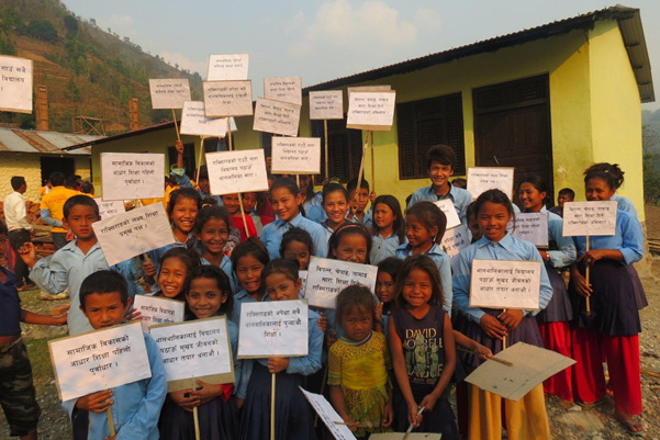 Children in Nepal demanding the right to free quality education. Credit: NCE-Nepal