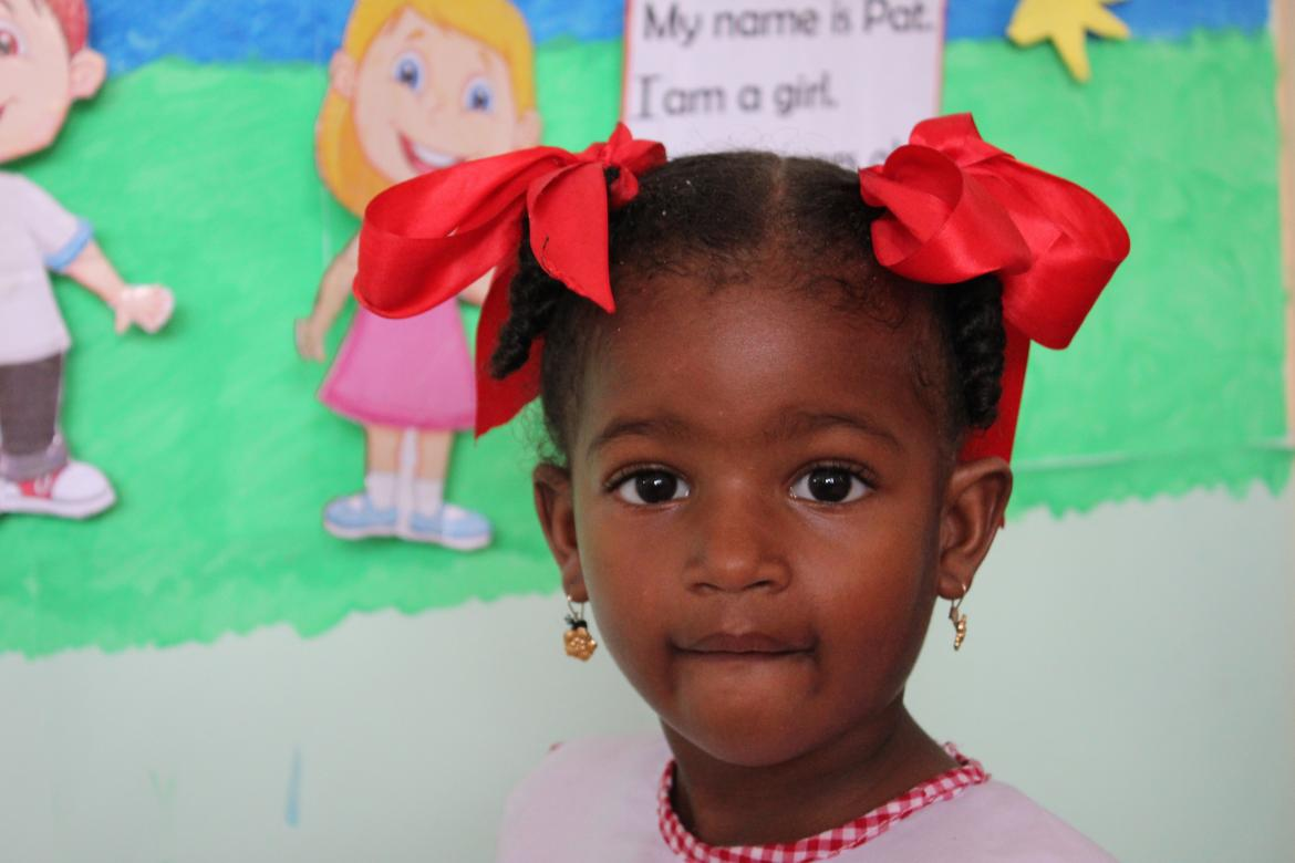 A pre-primary student at Beach View Nursery. Credit: GPE/Carolina Valenzuela