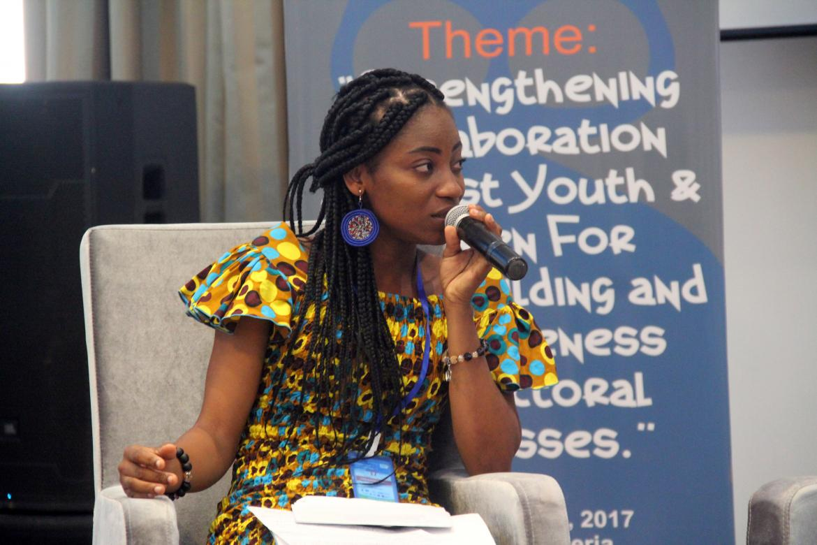 Edith Esinam Asamani during the 2017 AYEE Summit in Liberia. Credit: The Youth Coalition for Education Liberia (YOCEL)