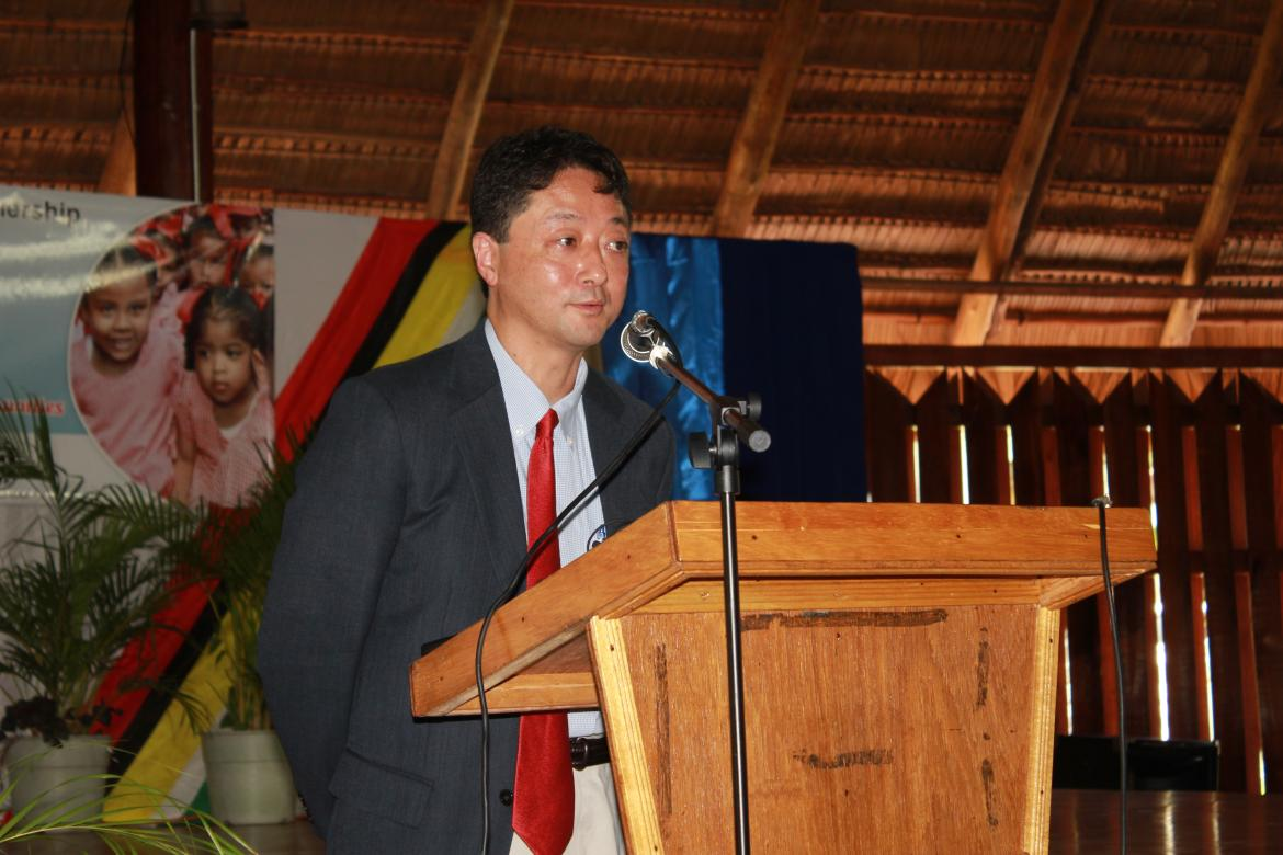 Daisuke Kanazawa, GPE country lead for Guyana, addressed the audience during the closing ceremony of the Guyana early childhood education program. Credit: GPE/Carolina Valenzuela