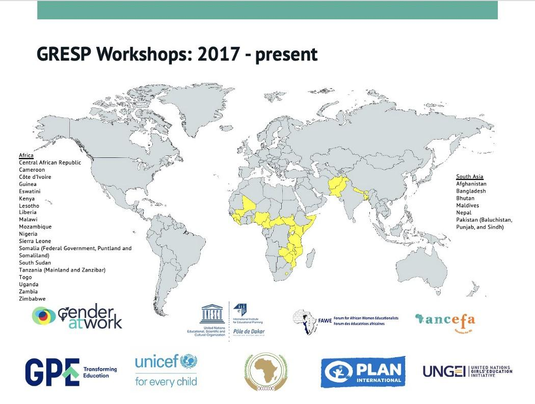 Map of GRESP workshop locations and partners, 2017-present.