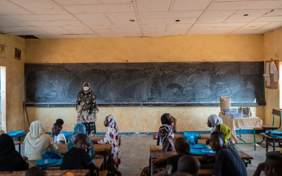 A teacher in her classroom in a school in Niger. Credit: UNICEF/Niger