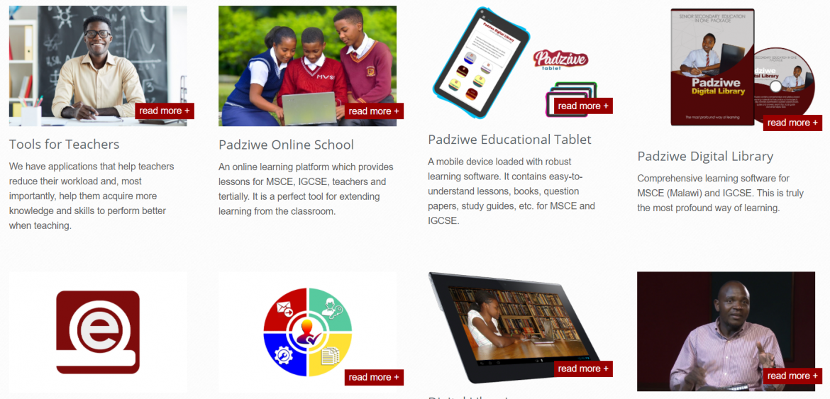 Screenshot of the Padziwe Ecosystem for Digital Education's website