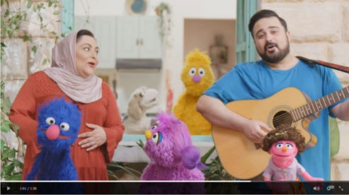 In this clip from Ahlan Simsim, caring adults Teta Noor and Hadi model belly breathing together with Basma and Jad—an example of co-regulation. You can read more about how Ahlan Simsim helps address the social-emotional needs of children in the Syrian response region here.