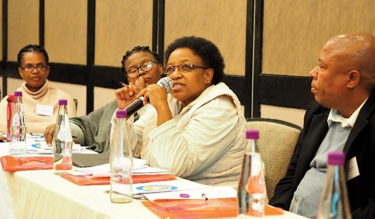 Edie Sebatane, professor at the National University of Lesotho and Chair of the Network for Early Childhood Care and Development of Lesotho, engages in group discussions during the BELDS inception workshop in Maseru, June 2019