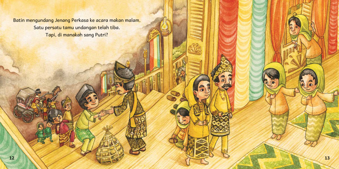 From The Little Friend of Putri Pandan Berduri, an Indonesian folktale adaptation written and illustrated by Fanny Santoso and awarded Best Illustration by the 2018 Islamic Book Award in Indonesia. © 2017 Penerbit Bestari (Room to Read publishing partner)