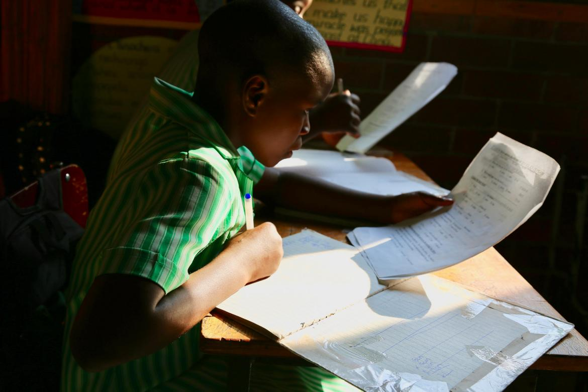A student at Glenview Primary School in Zimbabwe. Credit: GPE/Carine Durand
