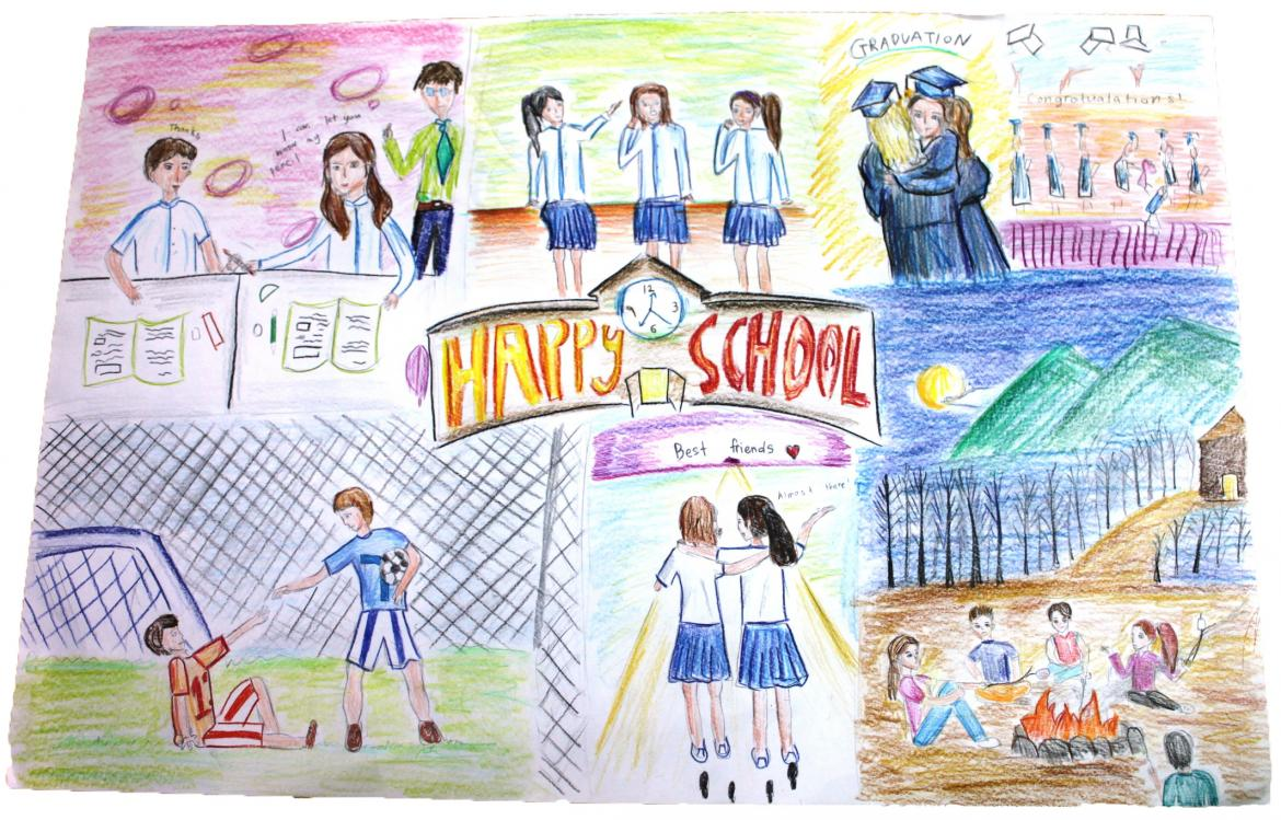 Drawing: A happy school is not only education, but also friendship. © UNESCO/Yoonjee Lee