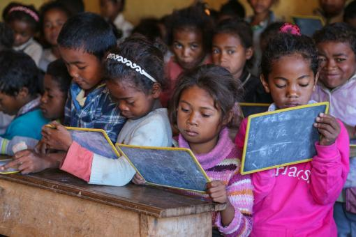 Image: A classroom in the public primary school of Ianjanina in rural Madagascar. Credit: Mohammad Al-Arief/The World Bank