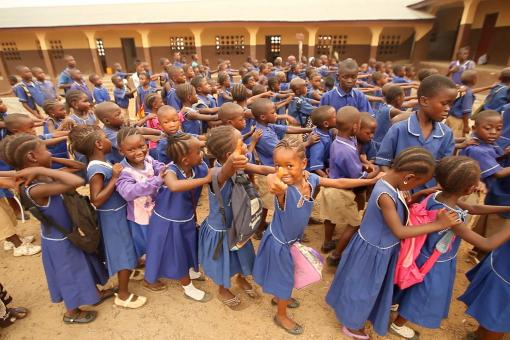 Image: Children queue up for class in Sierra Leone