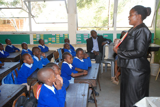 Florence Adanje and her pupils at the Langata West School