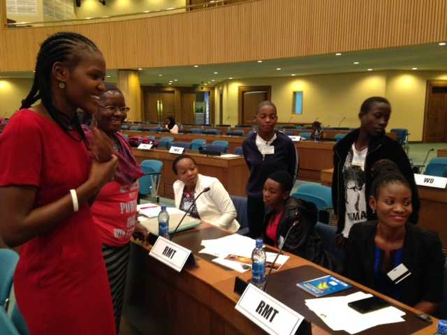 Vivian Onano with youth advocates at the AU Summit in Addis Ababa