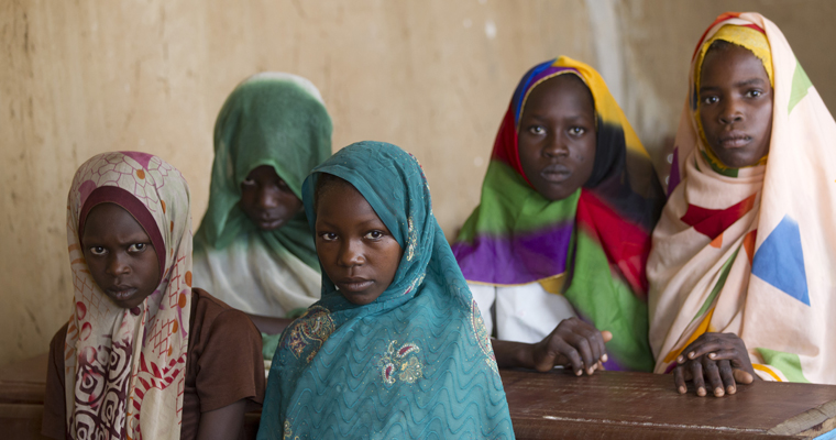 Girls attend class in Chad. Credit: Educate a Child