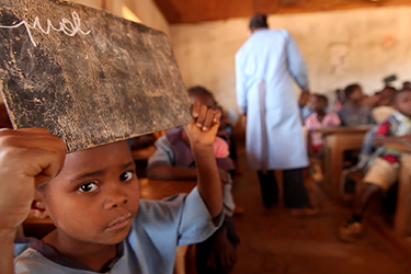A boy attends primary school in Cameroon. Credit: GPE/Stephan Bachenheimer