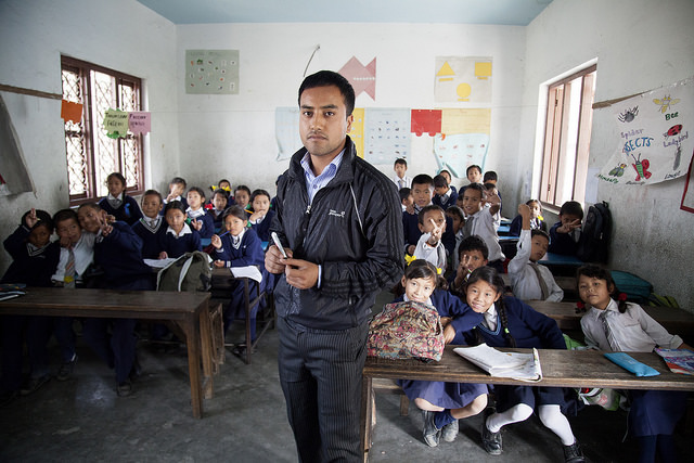 Gaurav Shrestha is a class teacher of Class 2A at Adarsha Saula Yubak Higher Secondary School, Bhainsipati. He teaches an intergrated class that includes children with disabilities. Credit: GPE/NayanTara Gurung Kakshapati