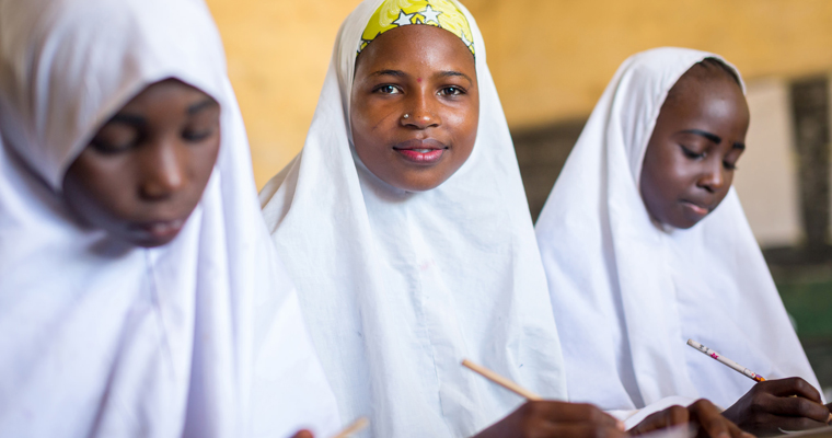 Bilky Wada, 15 [middle] is Fulani. She is in 6th grade at Miga Central Primary School, Jigawa State in Nigeria. Credit: GPE/Kelley Lynch